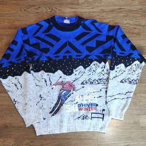 Vintage 1980s Tacky Alpes Ski Winter Men's Sweater M